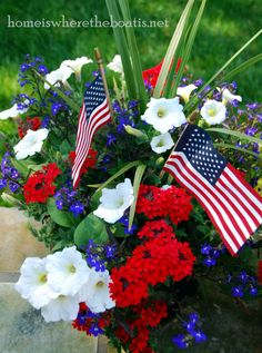 Aweigh for Memorial Day A glorious Forth of July flower arrangement bursting with color! Proudly hailing its patriotism with a combination of white petunias, red verbena, and blue lobelia.A glorious Forth of July flower arrangement bursting with color! Container Flowers, Container Plants, Container Gardening, Succulent Containers, White And Blue Flowers, Red And White, Fourth Of July, 4th Of July Wreath, Memorial Day