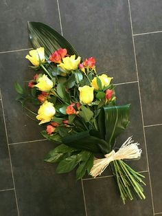 Yellow rose and orange freesia tied sheaf funeral flowers tribute Flower Arrangement Designs, Beautiful Flower Arrangements, Beautiful Flowers, Funeral Bouquet, Funeral Flowers, Funeral Floral Arrangements, Memorial Flowers, Flower Spray, Deco Floral