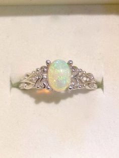 Australian Opal Ring - Vintage Style Opal Ring with Diamonds - Genuine Green Yellow Opal Silver Ring - 14K Optional - CUSTOM