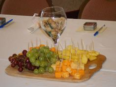 Center piece for my bridal shower that my MOH thought of! Great for wine&cheese lovers :)