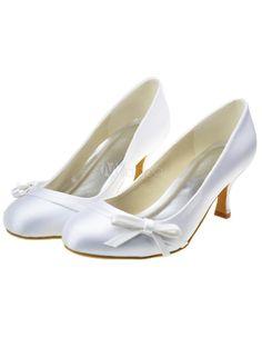 Branco redondo Toe gatinho calcanhar cetim arco decoração casamento sapatos para noiva