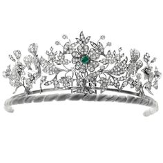 Diamond and Emerald floral tiara, Danish Royal House. Can be converted to three brooches and currently belongs to Princess Benedikte.