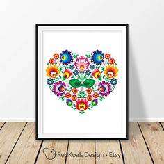 Polish folk art Digital print Heart pattern Floral wall art Poland Wycinanki Łowickie Love Wzory Printable poster Decor Valentine's Day Home by RedKoalaDesign on Etsy