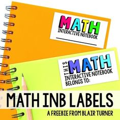 Free Interactive Notebook Labels by Blair Turner Interactive Student Notebooks, Math Notebooks, Reading Notebooks, Fifth Grade Math, Fourth Grade, Third Grade, Notebook Labels, Notebook Ideas, Teaching Math