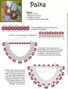 FREE Pattern for PAÏKA Earrings by Mu. Use: Délica seed beads 11/0 (d11), 40 bicone beads 3mm (T3), 4 round beads 4mm (R4), 2 ear wires (AB). PAGE 1 OF 2!