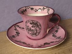 Antique Wedgwood pink tea cup and saucer set 1930 by ShoponSherman