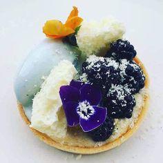 Blaeberry and polenta tartlet, violet ice cream and white chocolate #repost @trinityclapham #TrueFoodies #fortruefoodiesonly