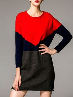 Red Long Sleeve Knitted Mini Dress