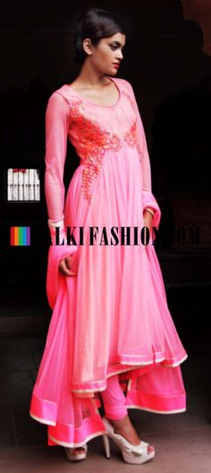 Buy Online from the link below. We ship worldwide (Free Shipping over US$100) http://www.kalkifashion.com/pink-suit-with-resham-and-zari-embroidery-by-gaurav-gupta.html Pink suit with resham and zari embroidery By Gaurav Gupta