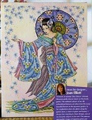 Beautiful geisha cross stitch chart/pattern