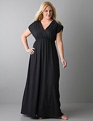 Short sleeve maxi dress gives you coveted shoe-skimming length and a curve-flattering fit with a surplice bodice and empire waist. This comfy dress is ideal for a casual day at home or a swim cover-up, that's easy to dress up for lunch with the girls, too!