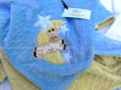 Minky Baby Blanket  Personalized Cow jumped over by LullabyGardens