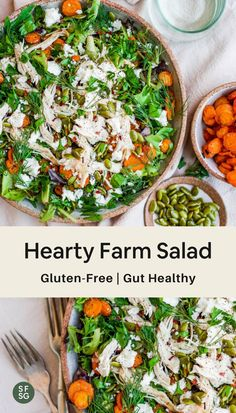 A hearty farm salad recipe that is both gluten-free and gut healthy. Loaded with bright leafy greens, buttery roasted carrots, fresh herbs, creamy and salty feta. Yum! It'll nourish and satisfy without weighing you down. #saladrecipes #healthysalad Easy Salad Recipes, Easy Salads, Healthy Recipes, Lunches And Dinners, Meals, Toasted Pumpkin Seeds, Lemon Herb, Gluten Free Dinner, Delicious Dinner Recipes