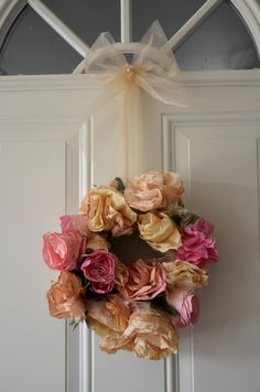 vintage looking wreath made from dyed coffee filters & vintage pearls