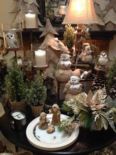 Burlap and owl tree at Something Special Christmas Booth, Christmas Party Table, Christmas 2014, Christmas Wishes, Christmas Wreaths, Christmas Decorations, Table Decorations, Holiday, Owl Tree