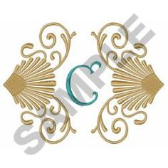 SHELLS AND SCROLLS, C embroidery design