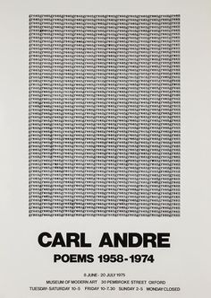 Poems, 1975, Carl Andre