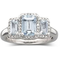 Genuine Aquamarine & Diamond Accent Ring ($100) ❤ liked on Polyvore