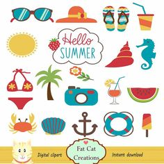 Summer elements digital clipart  graphic by FatCatCreation on Etsy