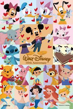 いろいろなキャラクターがいっぱい♡♡♡ ディズニー背景のイラスト