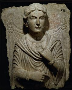 Bust of a woman. Tomb relief. White limestone (2nd quarter 2nd CE) from the necropolis of Palmyra, Syria. 55.9 x 49 cm Inv. 7444   National Museum, Damascus, Syria