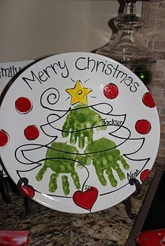 """Merry Christmas"" Handprint Tree Plate #christmas #colormemineboulder #pottery"