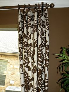 Brown and white window treatments