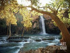 Scenic View of a Waterfall on Havasu Creek Photographic Print by W. E. Garrett at Art.com