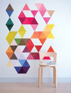 Mid Century Modern Danish Multi Colored Triangles Wall Stickers by Moon WallStickers