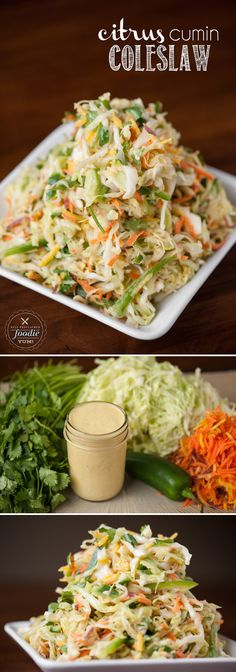 Citrus Cumin Coleslaw is a healthy and delicious side dish that is the perfect accompaniment to spicy sliders or fish tacos.