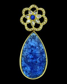 Paula Crevoshay Jewels > Pendants          Star of Kashmir - Tanzanite, Sapphire, Moonstone(8), Diamonds(35).
