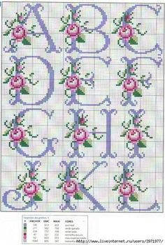 So pretty ~ cross stitch monogram alphabet with roses. - - So pretty ~ cross stitch monogram alphabet with roses. Cross Stitch Alphabet Patterns, Cross Stitch Letters, Cross Stitch Rose, Cross Stitch Flowers, Cross Stitch Charts, Cross Stitch Designs, Stitch Patterns, Bead Patterns, Cross Stitching