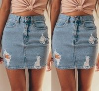 Wish | Fashion Womens Denim High Waisted Bodycon Celeb Pencil Ripped Frayed Jeans Midi Skirt