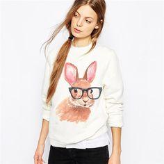 Nerdy Bunny Rabbit with Glasses Sweatshirt
