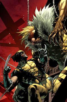 Something Marvel? - Wolverine vs Sabertooth by Leinil Francis Yu Marvel Wolverine, Marvel Vs, Marvel Heroes, Xmen Cyclops, Wolverine Tattoo, Batman Tattoo, Comic Book Artists, Comic Book Characters, Dc Comics