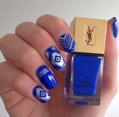 #bleu majorelle d'YSL avec les plaques de stamping @Topa Topa Botanicals ! http://www.emotion-wizard.com/2014/06/le-stamping-avec-topatopa-1.html #nails #nailart