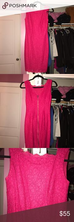 Adrianna Papell pink lace dress Beautiful bright pink Adrianna Papell dress. Worn less than 3 times to weddings. In great condition. I am 5'7 and the dress is right above my knee, not too short. Adrianna Papell Dresses