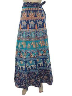 Amazon.com: Bohemian Wrap Skirts, Blue Wrap Around Skirt Hippie Long Skirt Indiatrendzs: Clothing
