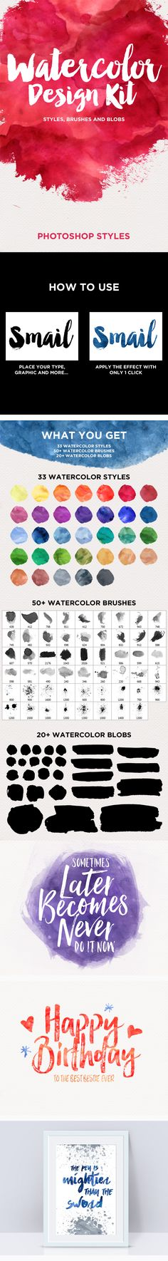 Watercolor Design Kit - Photoshop Styles. Download here: http://graphicriver.net/item/watercolor-design-kit-photoshop-styles/16181503?ref=ksioks
