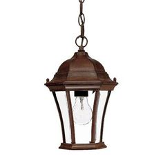 "Brynmawr 1 Light Outdoor Hanging Lantern Finish: Burled Walnut by Acclaim Lighting. $50.49. 5021BW Finish: Burled Walnut Features: -Hanging lantern.-Number of light: 1.-Material: Cast aluminium.-Glass type: Clear beveled.-UL listed.-Bulb type: Medium.-Volts: 120. Dimensions: -Overall dimensions: 12"" H x 8"" W. Collection: -Brynmawr collection."