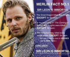 Merlin Fact Sir Leon is immortal. - Merlin on BBC Fan Art - Fanpop - Sir Leon is immortal……So him and Merlin can be immortal buddies complaining about how everythin - Colin Morgan, Bbc, Merlin Memes, Merlin Quotes, Merlin Cast, Lancelot Merlin, Merlin Fandom, Merlin And Arthur, King Arthur