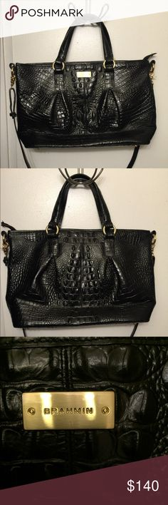 Large Black Brahmin Bag-Great Used Condition This bag is in great used condition. It is a pretty large bag. The outside is in great condition and the inside shows minimal signs of usage. Brahmin Bags Crossbody Bags