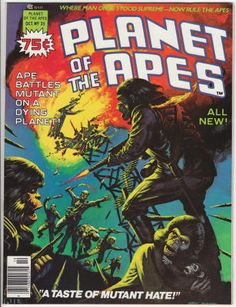 Planet Of The Apes Magazine #25: October 1976, VF/NM, Low Distribution; Ken Barr cover painting, Chapters 3 and 4 of the adaptation of the fifth film by Doug Moench and Sonny Trinidad, POTA merchandising article with photos. $27