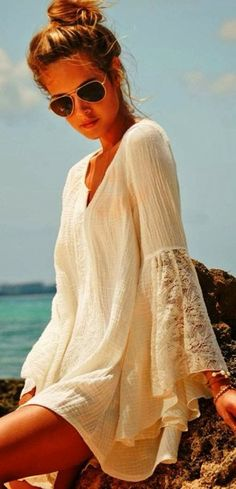 Lace sleeves, beach wear.