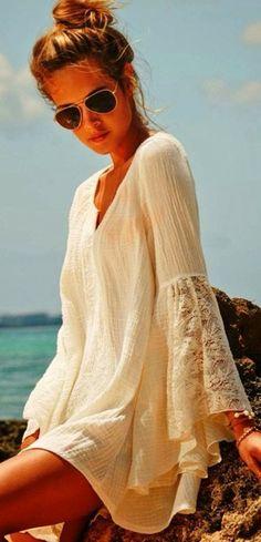 Lace sleeves, beach wear.