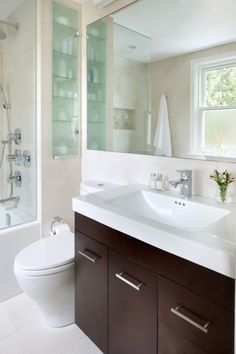 spa, all white, dark cabinets, frosted glass storage