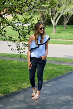 Blue and White Striped Cold Shoulder Top  #LexWhatWear - #styleblogger #fashionblog #blogger #outfitideas #styleinspiration #outfitguide #springstyle #springfashion #fashiontrends #nashvillestyle