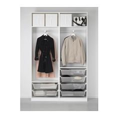 """IKEA - PAX, Wardrobe, 59x17 3/8x93 1/8 """", soft closing damper, , 10-year Limited Warranty. Read about the terms in the Limited Warranty brochure.You can easily adapt this ready-made PAX/KOMPLEMENT combination to suit your needs and taste using the PAX planning tool.Hinges with integrated dampers catch the door and close it slowly, silently and softlyPerfect where space is limited since the frame is narrow.Sliding doors allow more room for furniture because they don't take any space to…"""