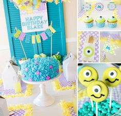 Monsters Inc. Birthday ideas! Oreos dipped in green colored white chocolate with mini marshmallows and chocolate chips for eyes!