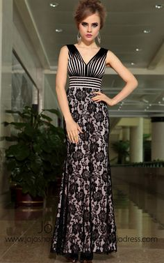 Black Lace V Neck Slim Sexy Formal Prom Evening Cocktail Dress DQ830900
